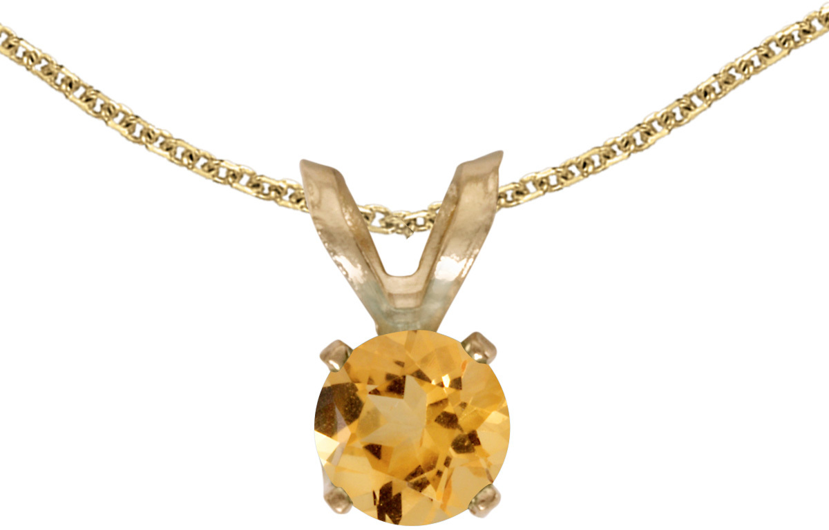 14k Yellow Gold Round Citrine Pendant (Chain NOT included) (CM-P1414X-11)