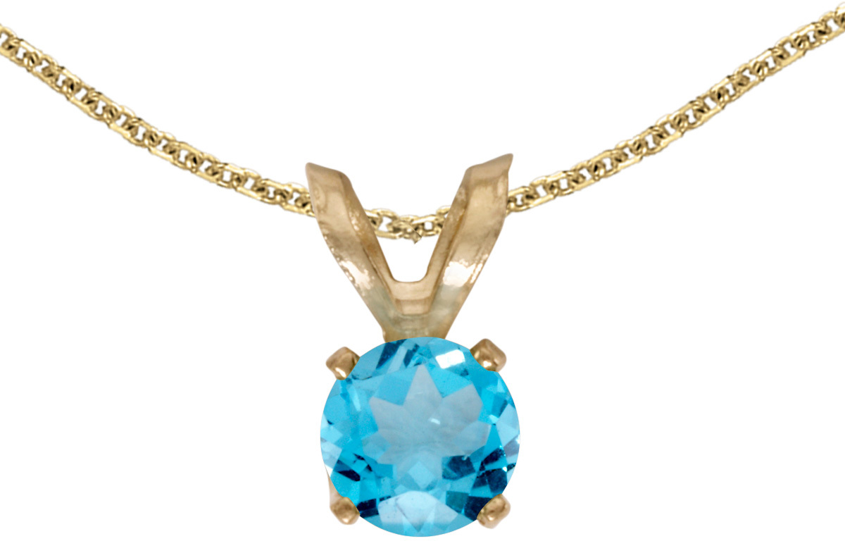 14k Yellow Gold Round Blue Topaz Pendant (Chain NOT included) (CM-P1414X-12)