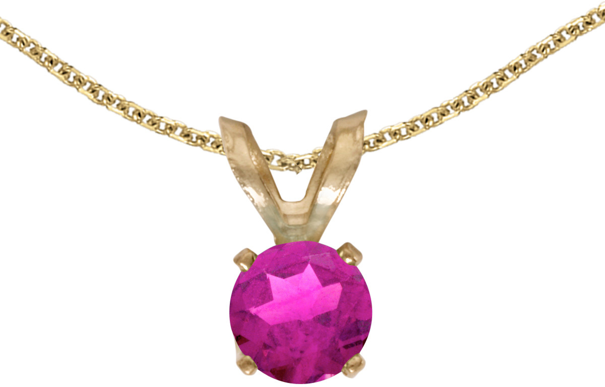 14k Yellow Gold Round Pink Topaz Pendant (Chain NOT included)