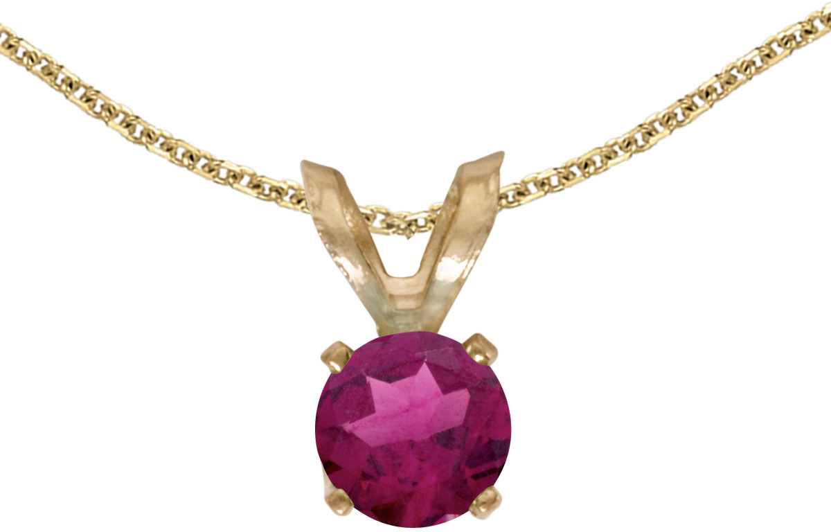 14k Yellow Gold Round Rhodolite Garnet Pendant (Chain NOT included) (CM-P1414X-RG)