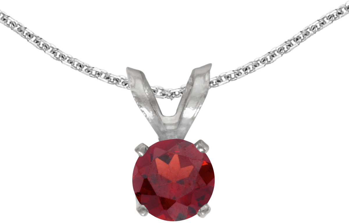 14k White Gold Round Garnet Pendant (Chain NOT included)