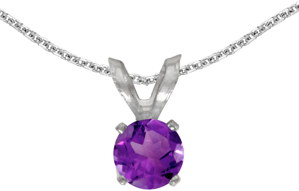 14k White Gold Round Amethyst Pendant (Chain NOT included)