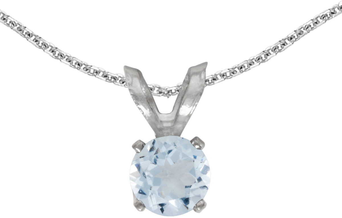 14k White Gold Round Aquamarine Pendant (Chain NOT included) (CM-P1414XW-03)