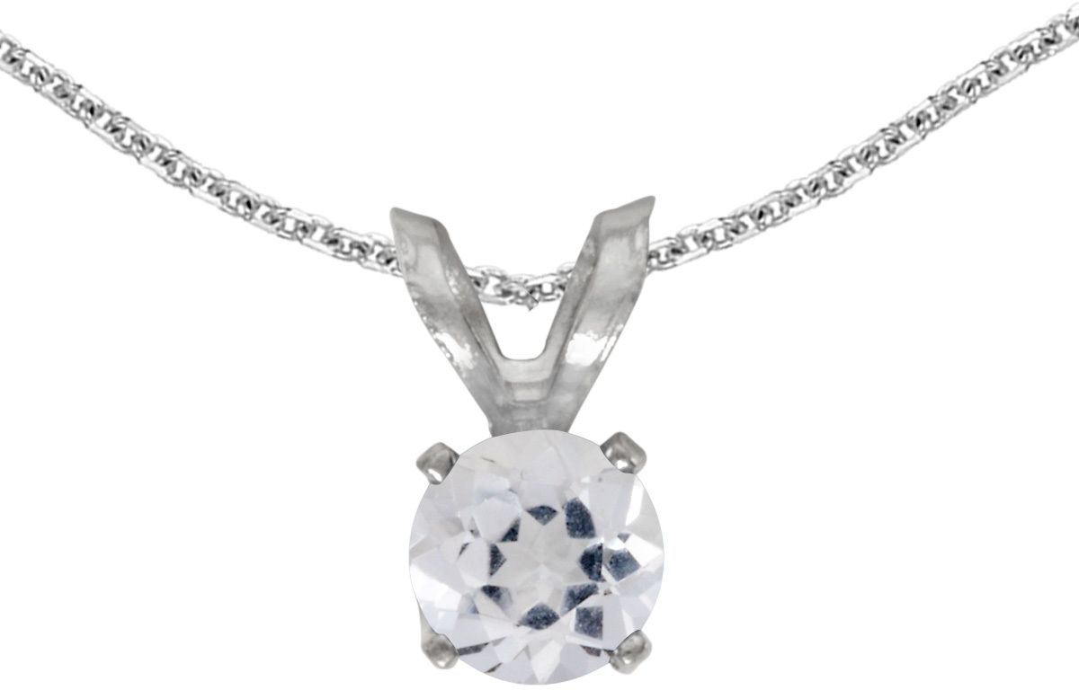 14k White Gold Round White Topaz Pendant (Chain NOT included) (CM-P1414XW-04)