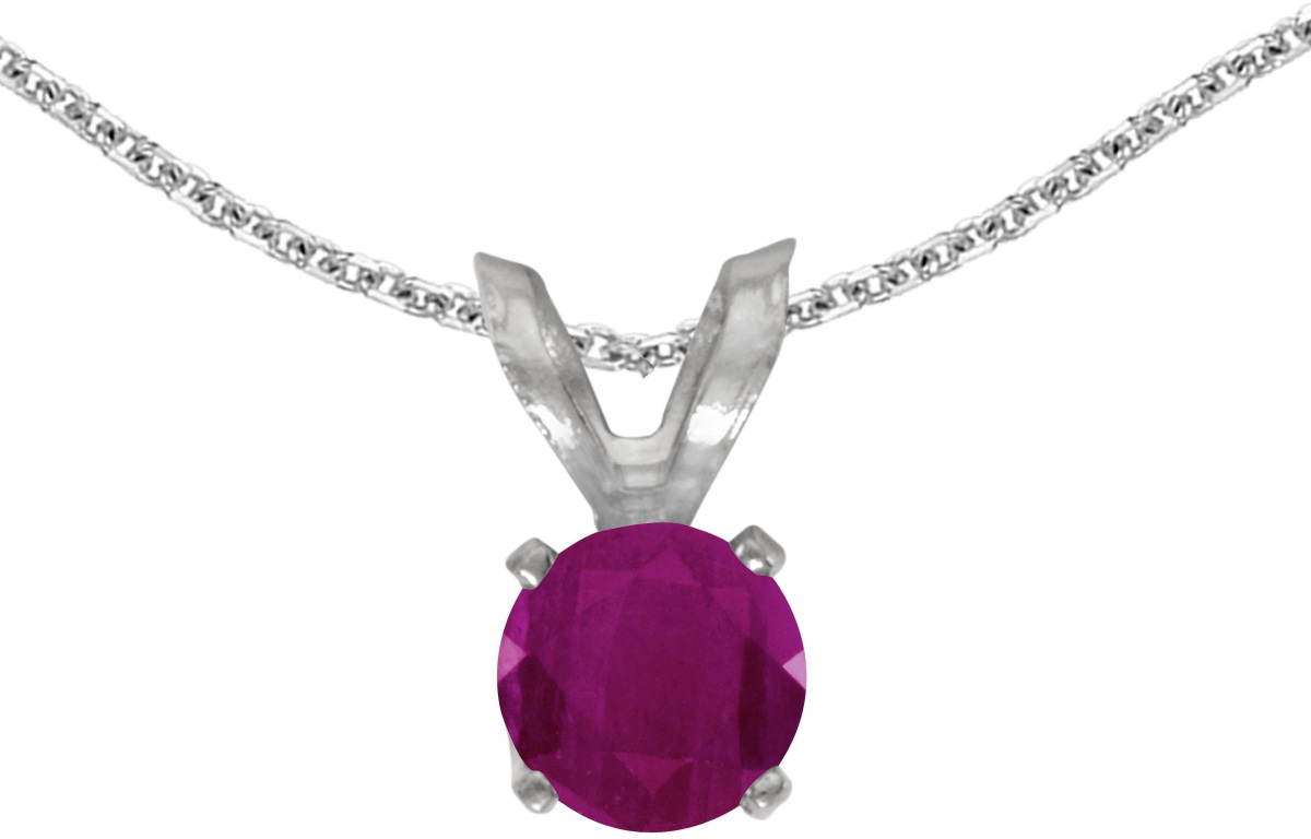 14k White Gold Round Ruby Pendant (Chain NOT included) (CM-P1414XW-07)