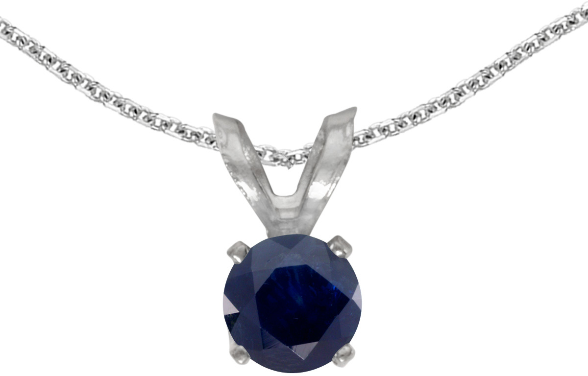 14k White Gold Round Sapphire Pendant (Chain NOT included) (CM-P1414XW-09)