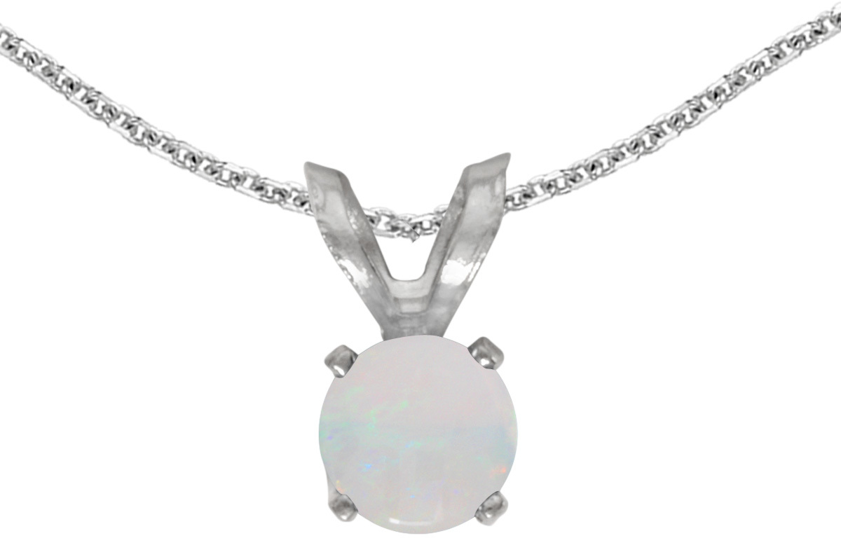 14k White Gold Round Opal Pendant (Chain NOT included) (CM-P1414XW-10)