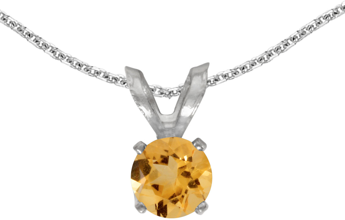 14k White Gold Round Citrine Pendant (Chain NOT included) (CM-P1414XW-11)