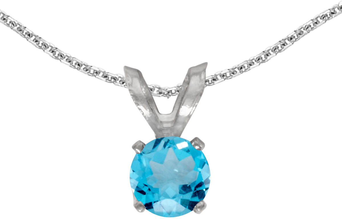 14k White Gold Round Blue Topaz Pendant (Chain NOT included) (CM-P1414XW-12)