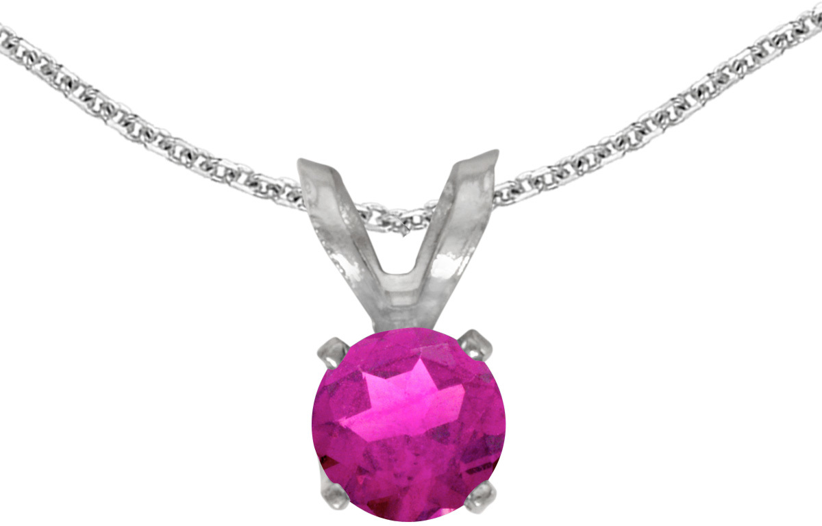 14k White Gold Round Pink Topaz Pendant (Chain NOT included) (CM-P1414XW-PT)