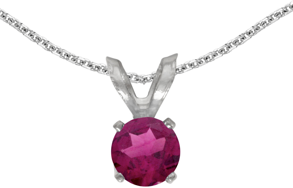 14k White Gold Round Rhodolite Garnet Pendant (Chain NOT included) (CM-P1414XW-RG)
