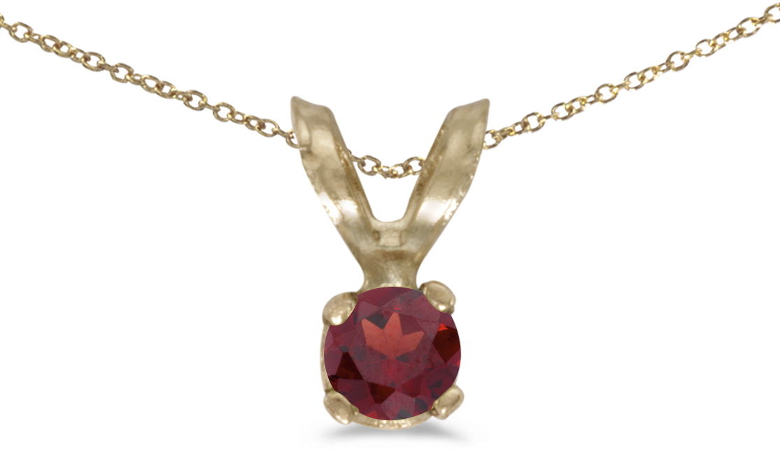 14k Yellow Gold Round Garnet Pendant (Chain NOT included) (CM-P1418X-01)