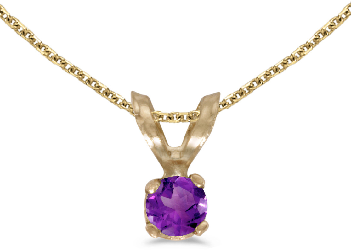 14k Yellow Gold Round Amethyst Pendant (Chain NOT included) (CM-P1418X-02)