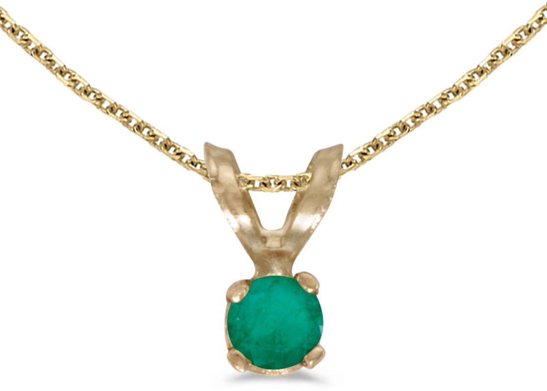 14k Yellow Gold Round Emerald Pendant (Chain NOT included) (CM-P1418X-05)