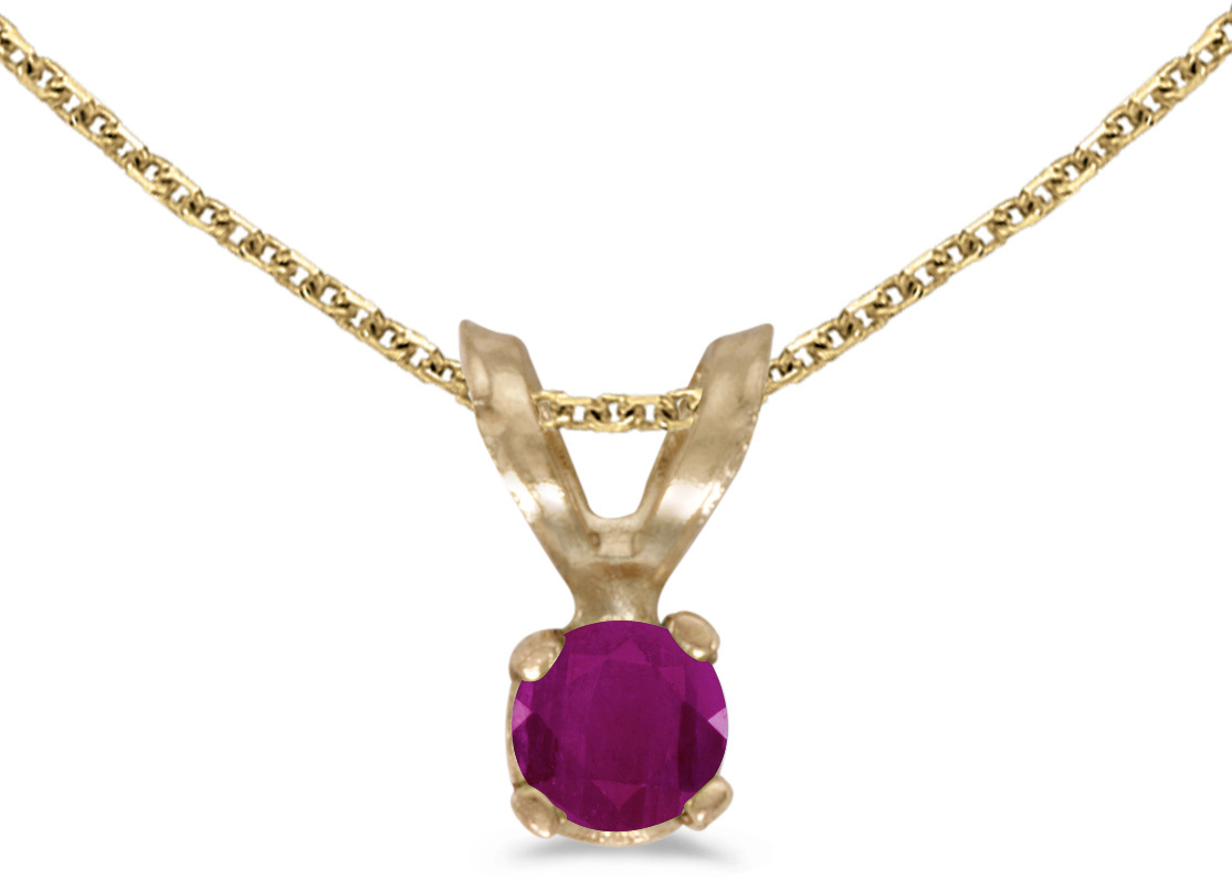 14k Yellow Gold Round Ruby Pendant (Chain NOT included) (CM-P1418X-07)