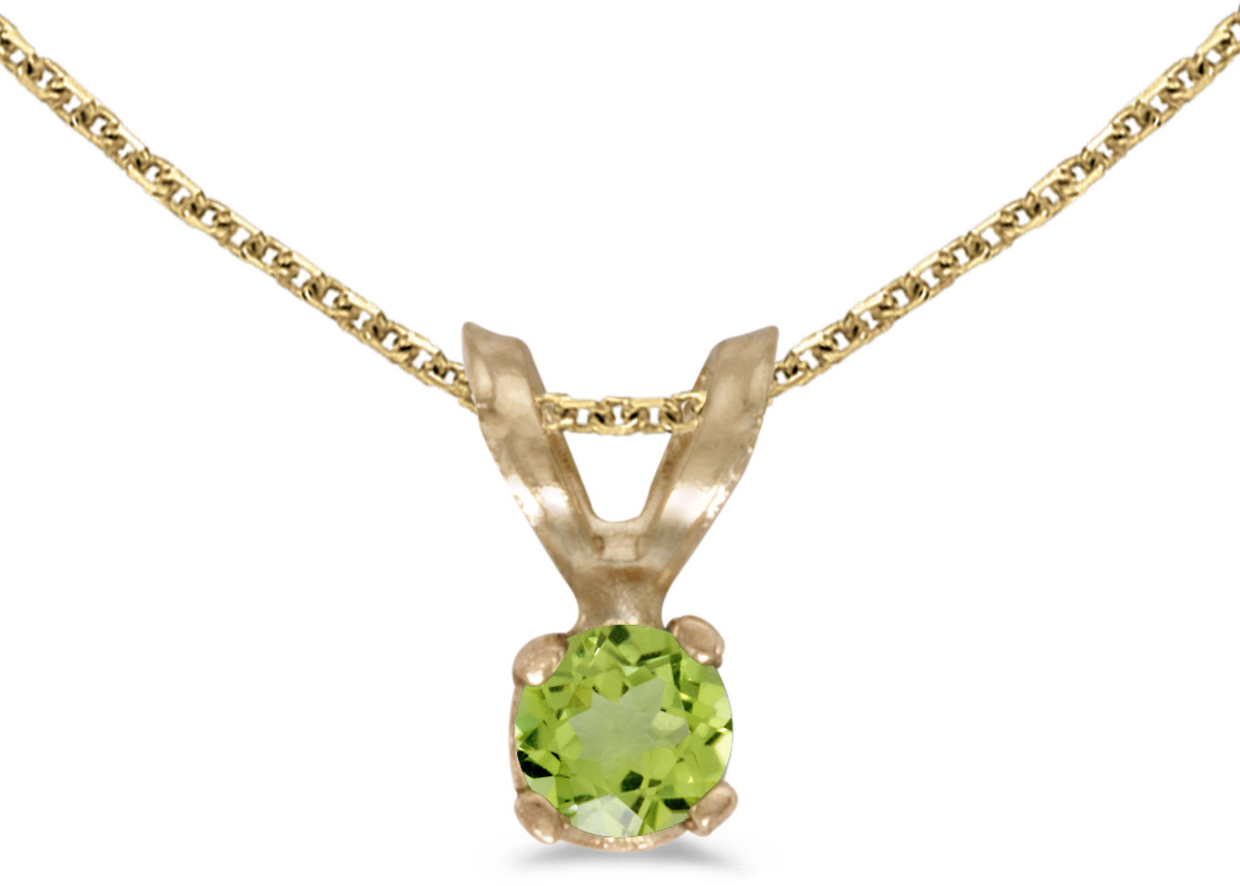 14k Yellow Gold Round Peridot Pendant (Chain NOT included) (CM-P1418X-08)