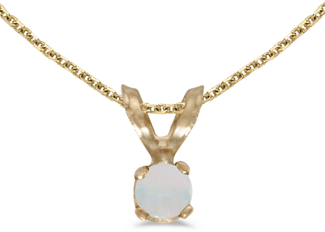 14k Yellow Gold Round Opal Pendant (Chain NOT included) (CM-P1418X-10)