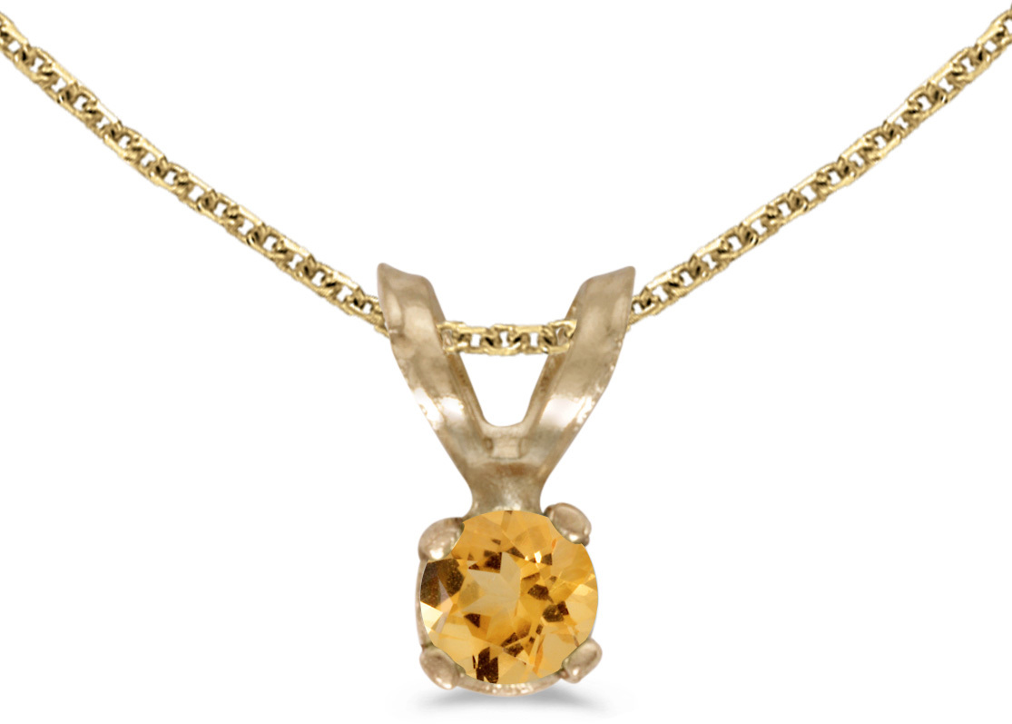 14k Yellow Gold Round Citrine Pendant (Chain NOT included) (CM-P1418X-11)