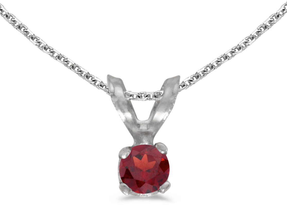 14k White Gold Round Garnet Pendant (Chain NOT included) (CM-P1418XW-01)