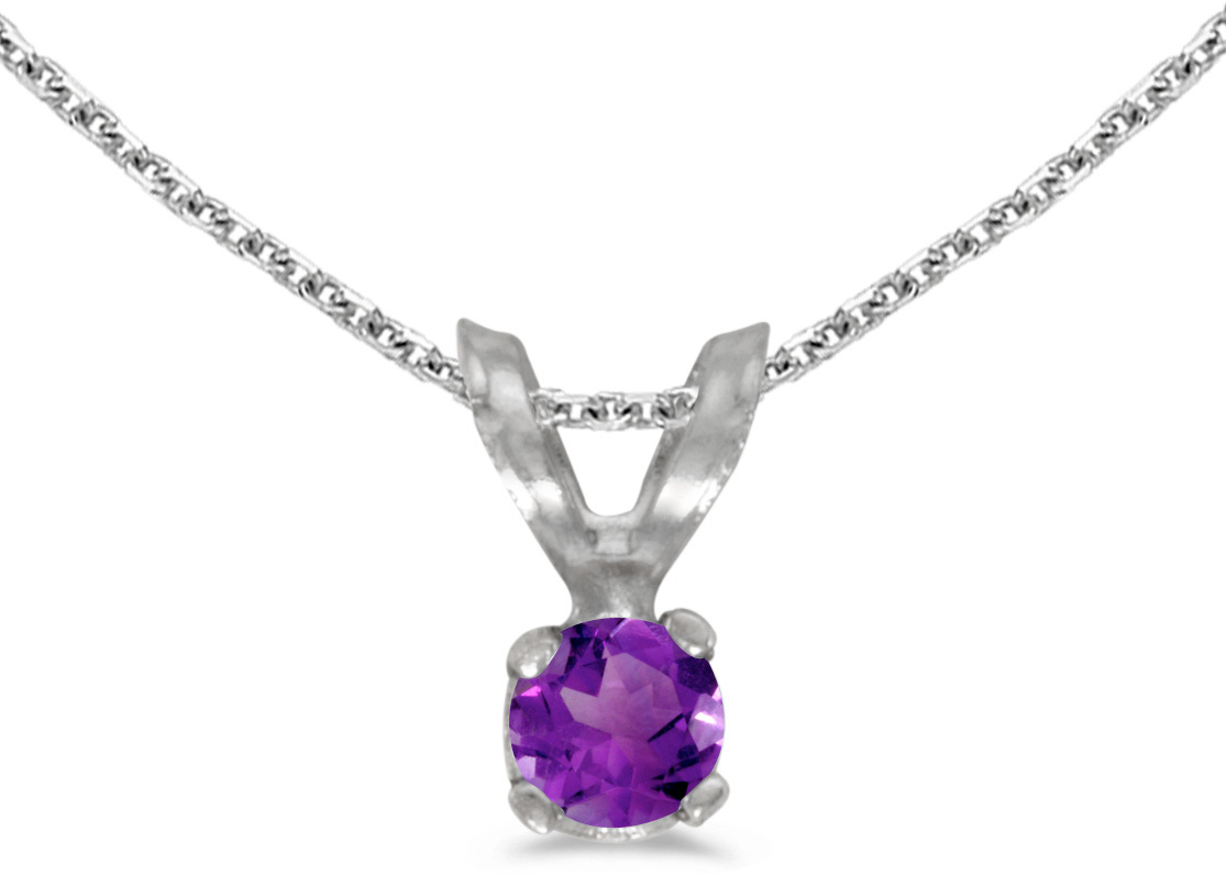 14k White Gold Round Amethyst Pendant (Chain NOT included) (CM-P1418XW-02)