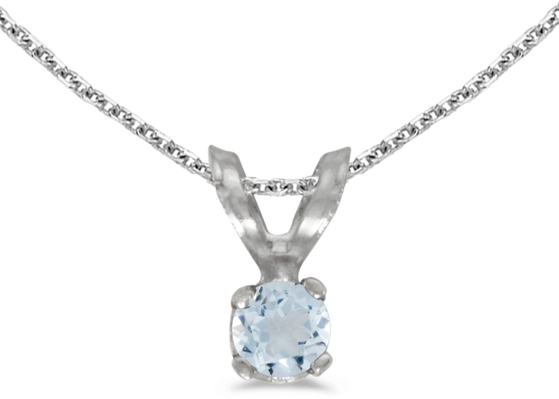 14k White Gold Round Aquamarine Pendant (Chain NOT included) (CM-P1418XW-03)