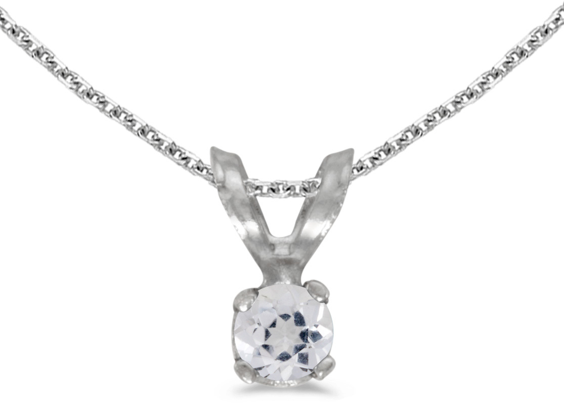 14k White Gold Round White Topaz Pendant (Chain NOT included) (CM-P1418XW-04)