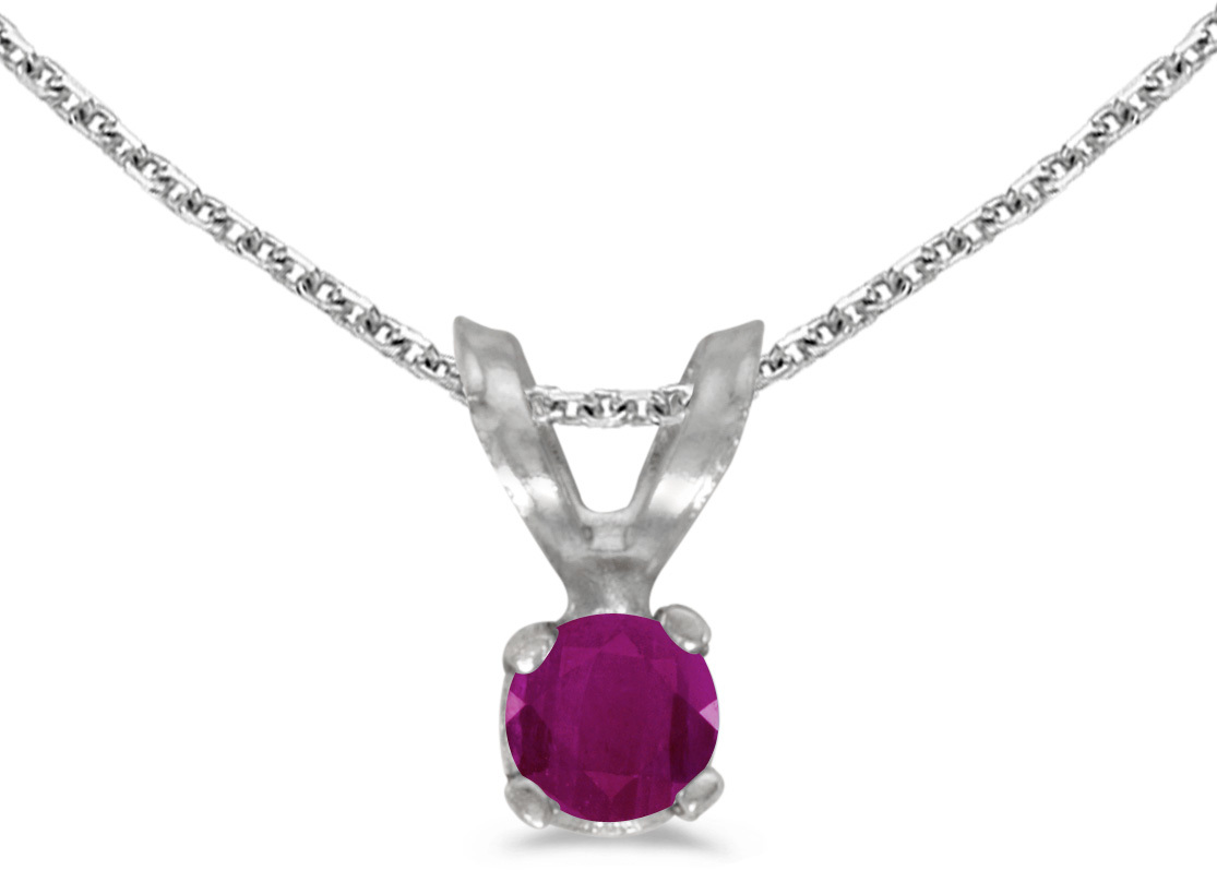 14k White Gold Round Ruby Pendant (Chain NOT included) (CM-P1418XW-07)