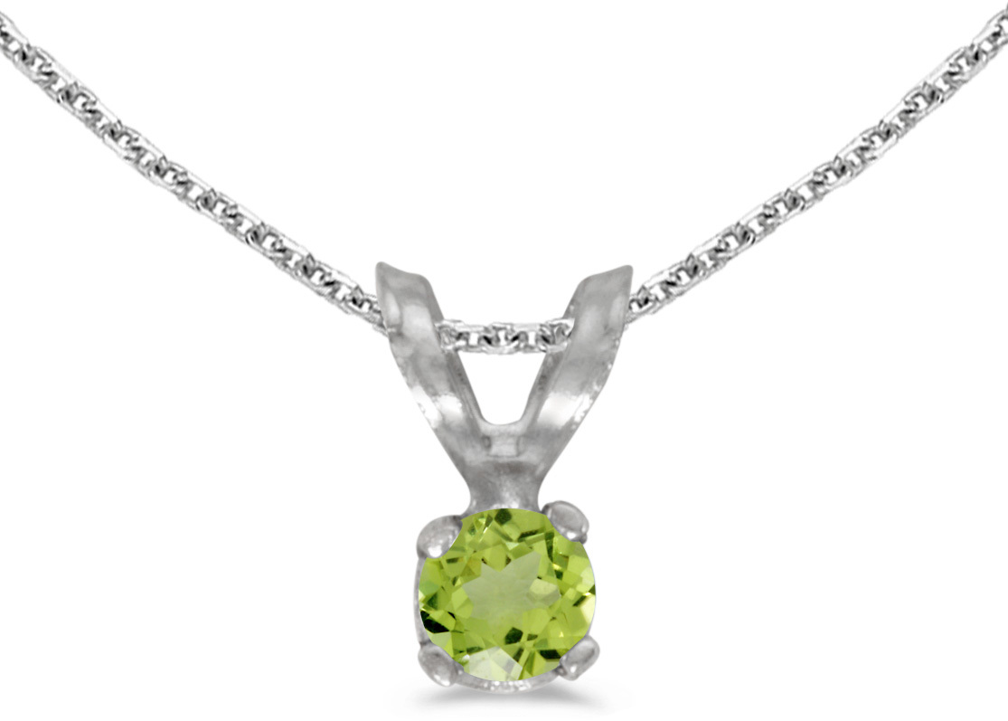 14k White Gold Round Peridot Pendant (Chain NOT included) (CM-P1418XW-08)