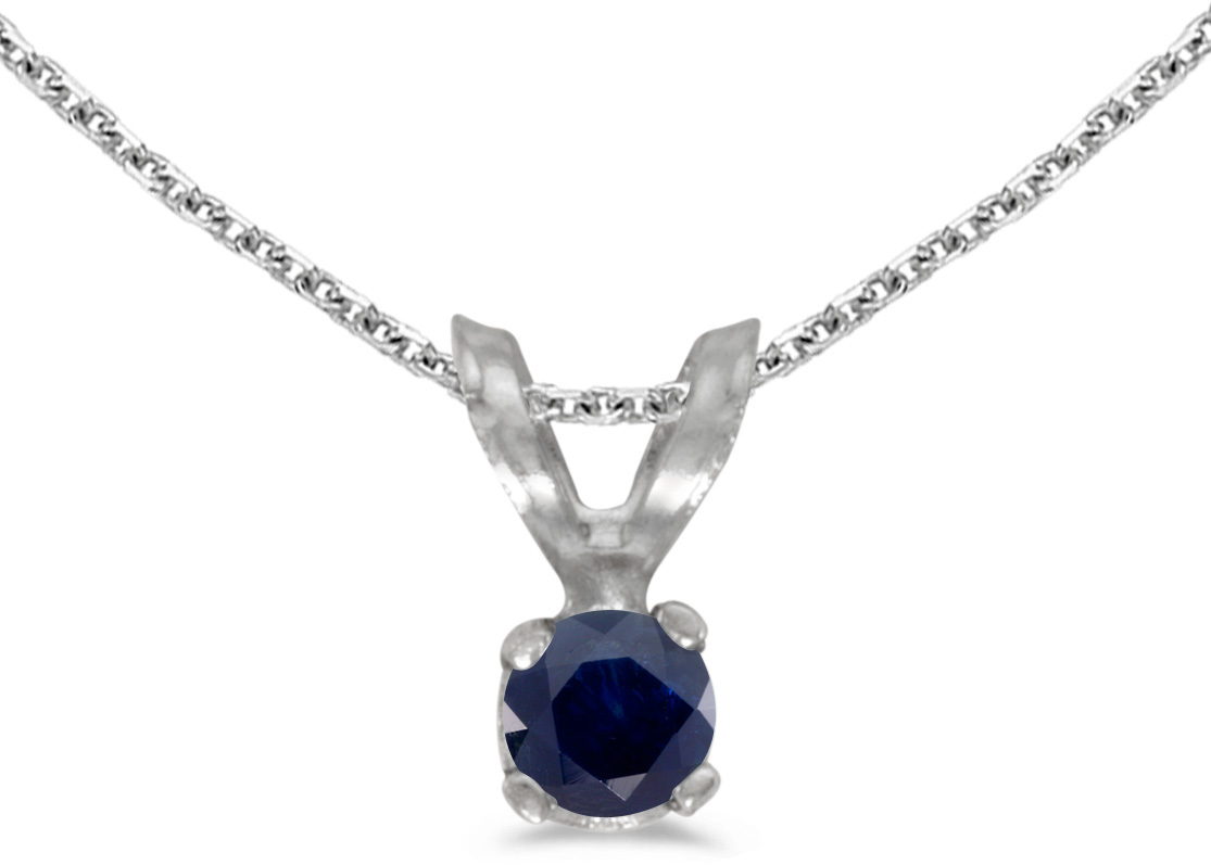 14k White Gold Round Sapphire Pendant (Chain NOT included) (CM-P1418XW-09)