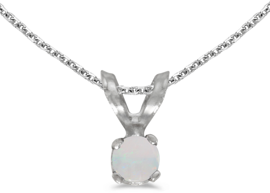 14k White Gold Round Opal Pendant (Chain NOT included) (CM-P1418XW-10)