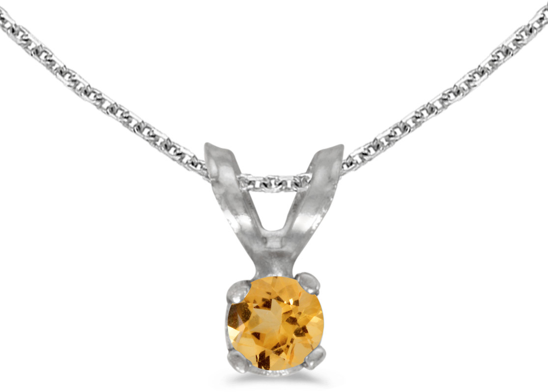 14k White Gold Round Citrine Pendant (Chain NOT included) (CM-P1418XW-11)
