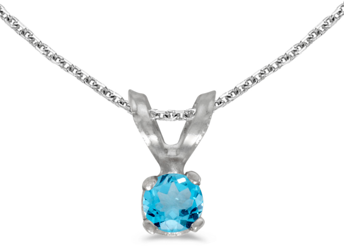 14k White Gold Round Blue Topaz Pendant (Chain NOT included) (CM-P1418XW-12)