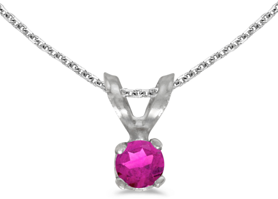 14k White Gold Round Pink Topaz Pendant (Chain NOT included)