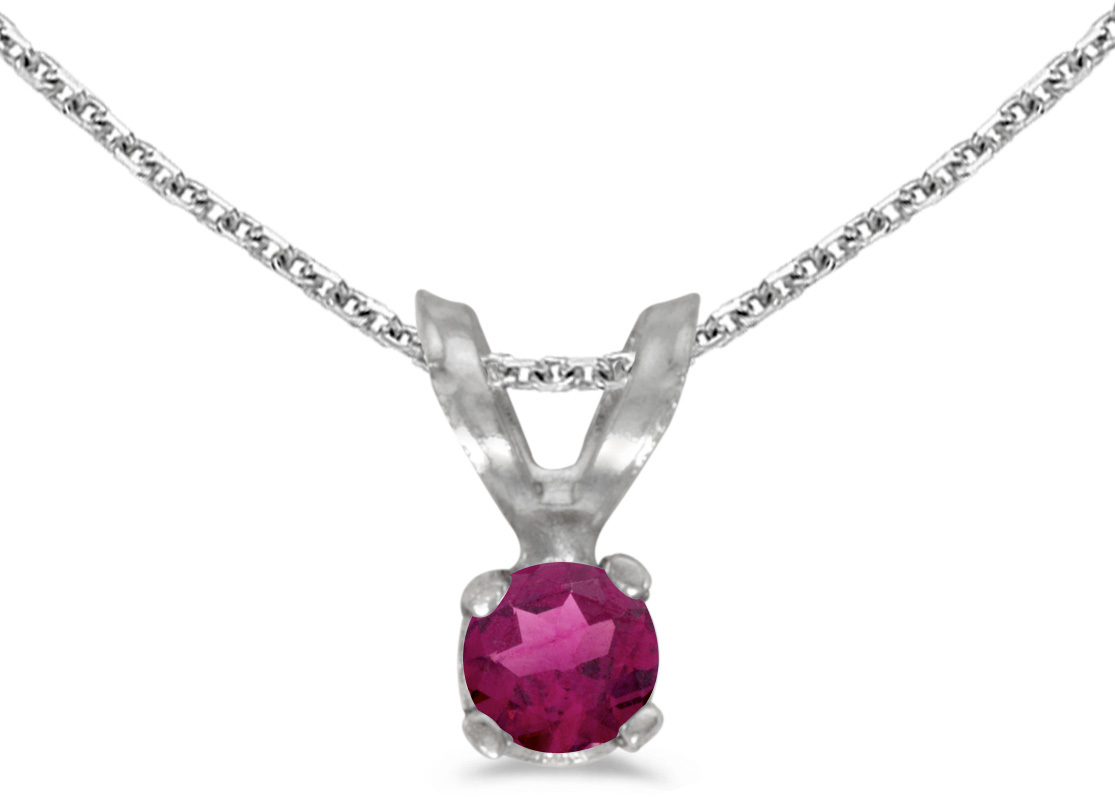 14k White Gold Round Rhodolite Garnet Pendant (Chain NOT included) (CM-P1418XW-RG)