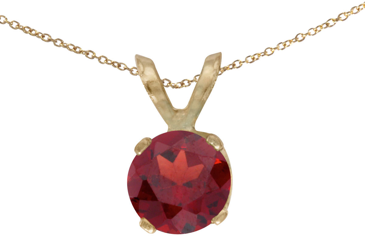 14k Yellow Gold Round Garnet Pendant (Chain NOT included)
