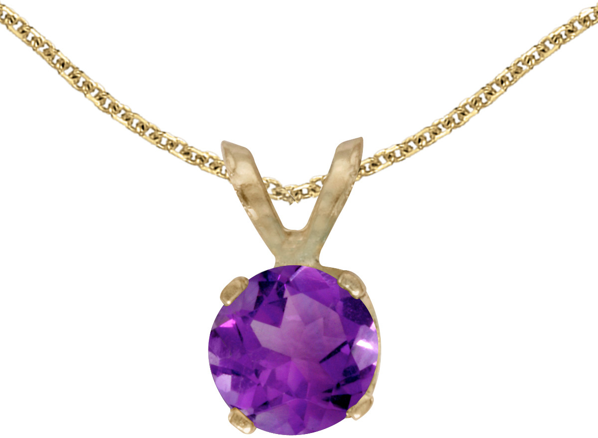 14k Yellow Gold Round Amethyst Pendant (Chain NOT included)