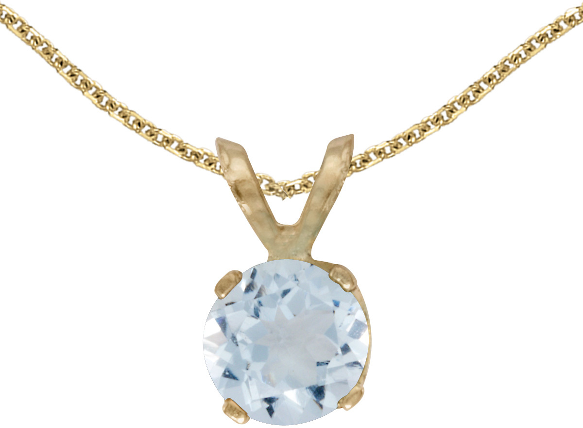 14k Yellow Gold Round Aquamarine Pendant (Chain NOT included)