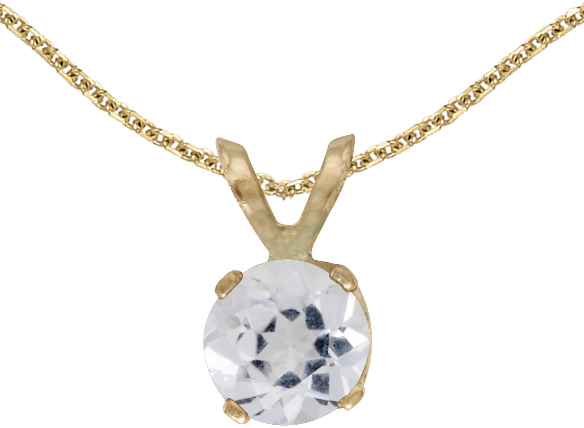 14k Yellow Gold Round White Topaz Pendant (Chain NOT included)