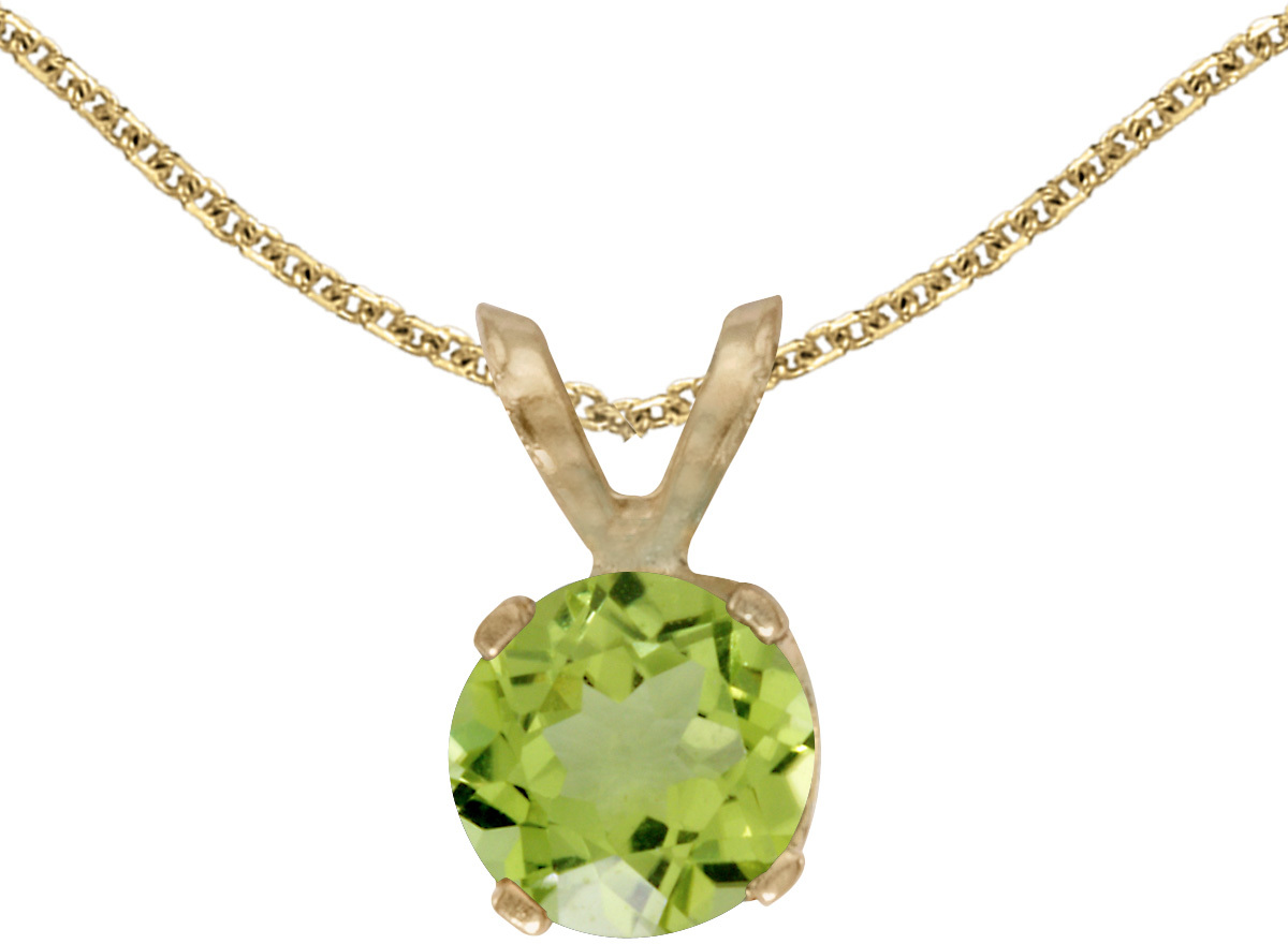 14k Yellow Gold Round Peridot Pendant (Chain NOT included)