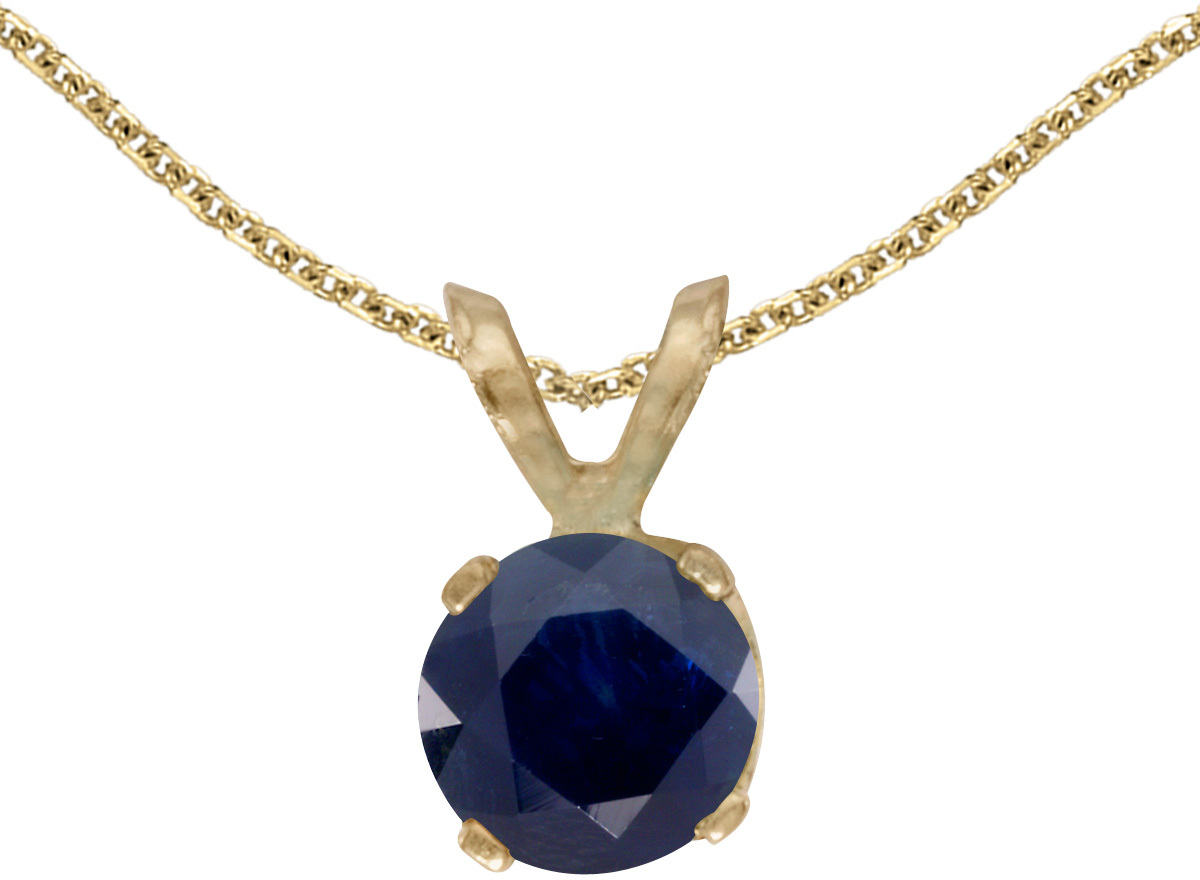 14k Yellow Gold Round Sapphire Pendant (Chain NOT included)