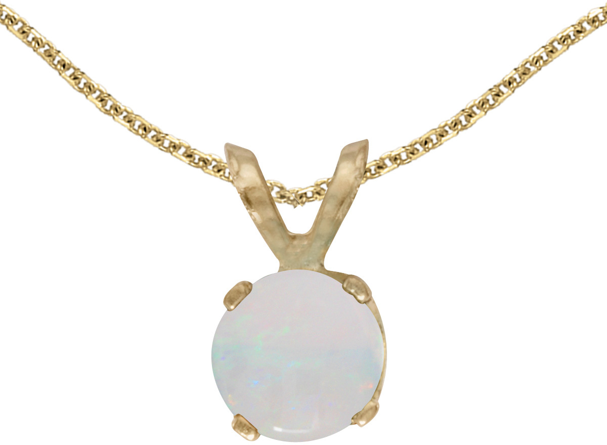 14k Yellow Gold Round Opal Pendant (Chain NOT included)