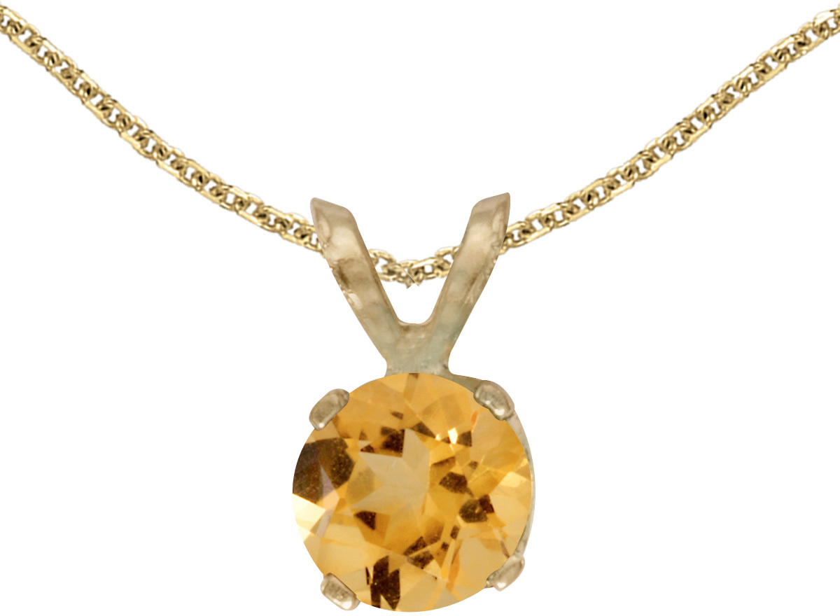 14k Yellow Gold Round Citrine Pendant (Chain NOT included)