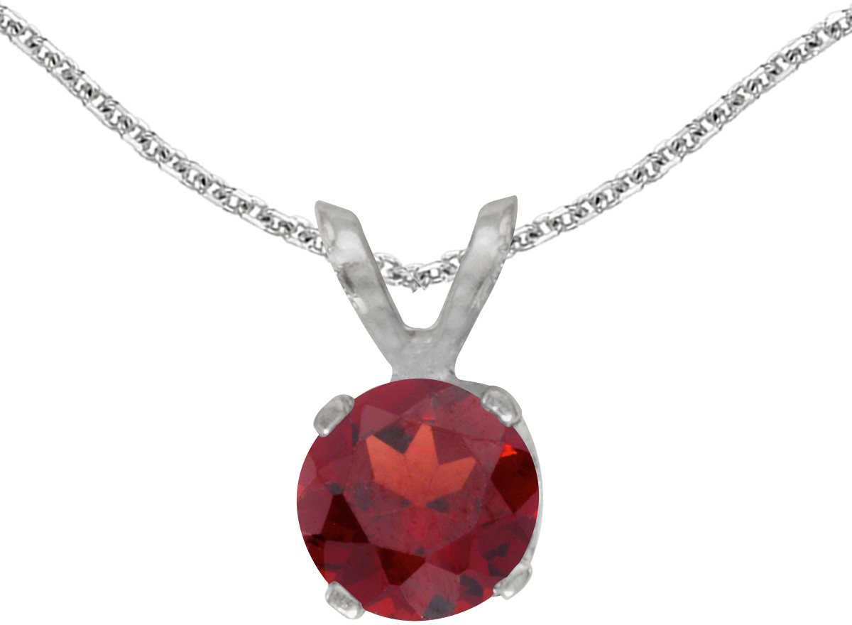 14k White Gold Round Garnet Pendant (Chain NOT included) (CM-P1471XW-01)