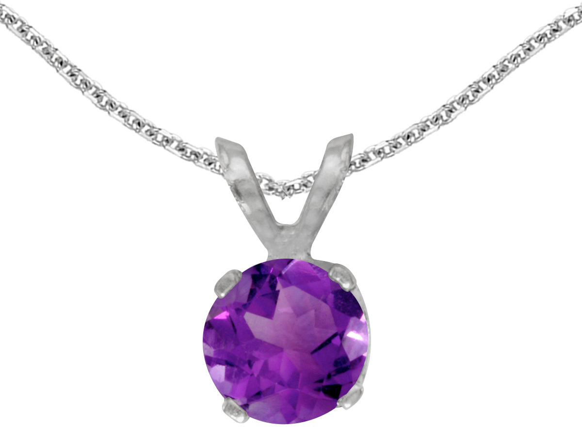 14k White Gold Round Amethyst Pendant (Chain NOT included) (CM-P1471XW-02)