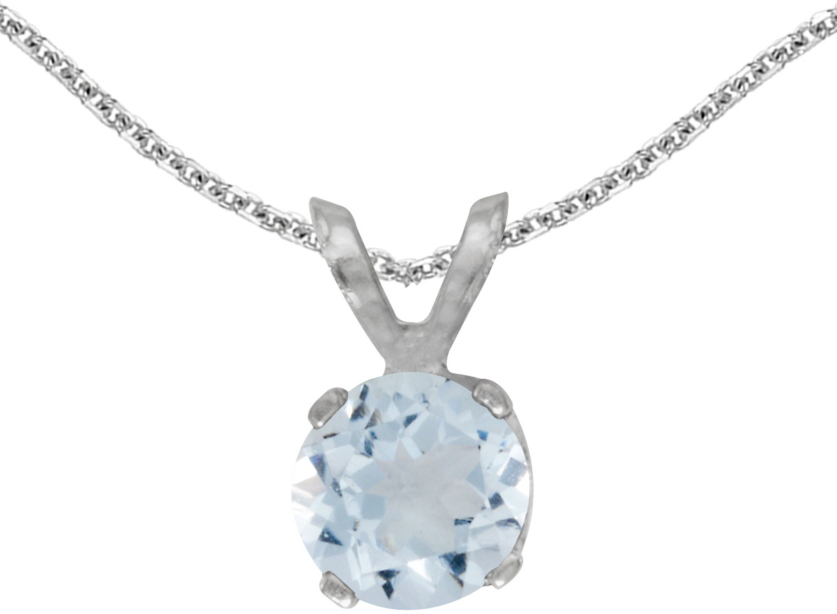 14k White Gold Round Aquamarine Pendant (Chain NOT included)