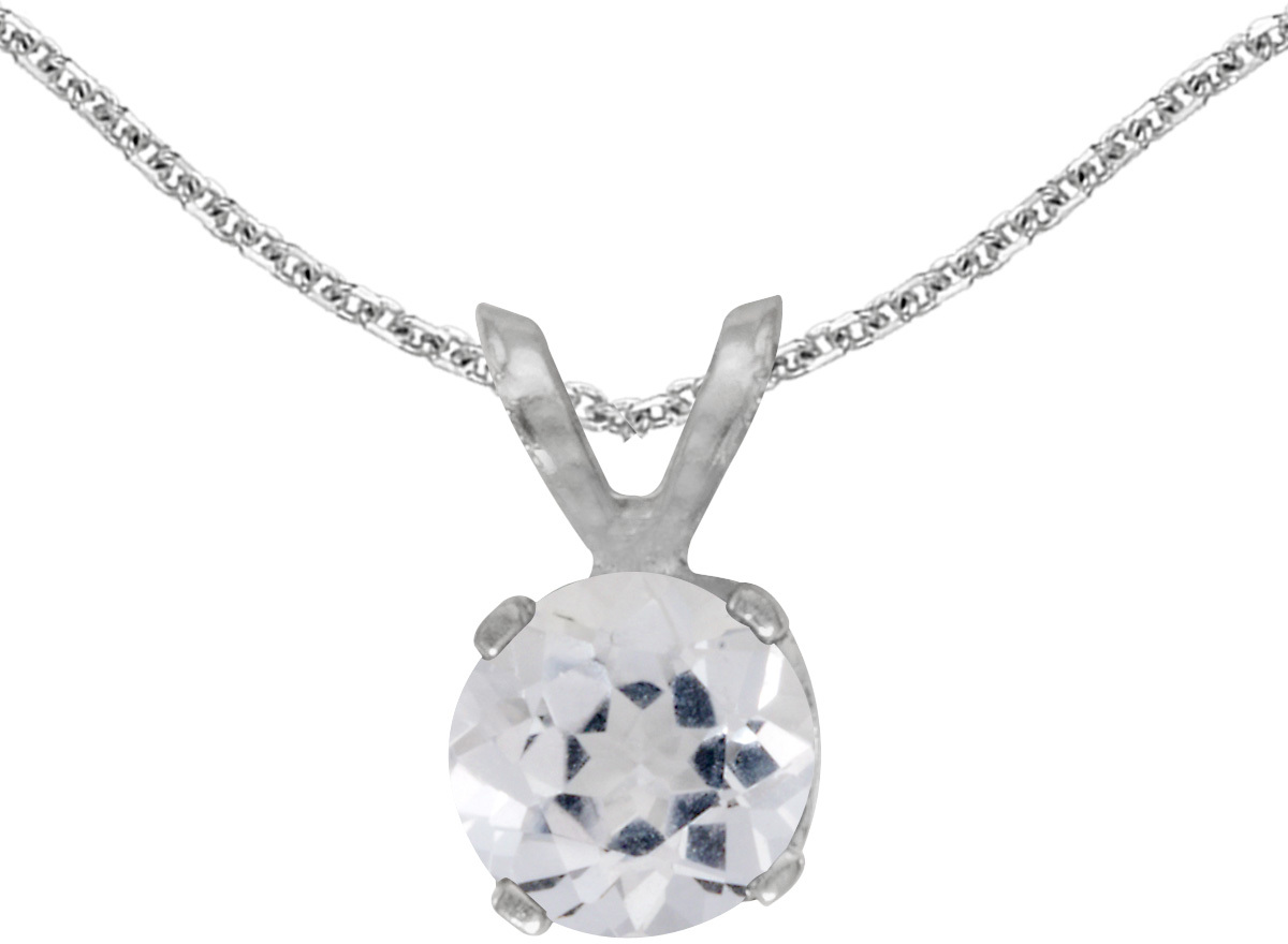 14k White Gold Round White Topaz Pendant (Chain NOT included)