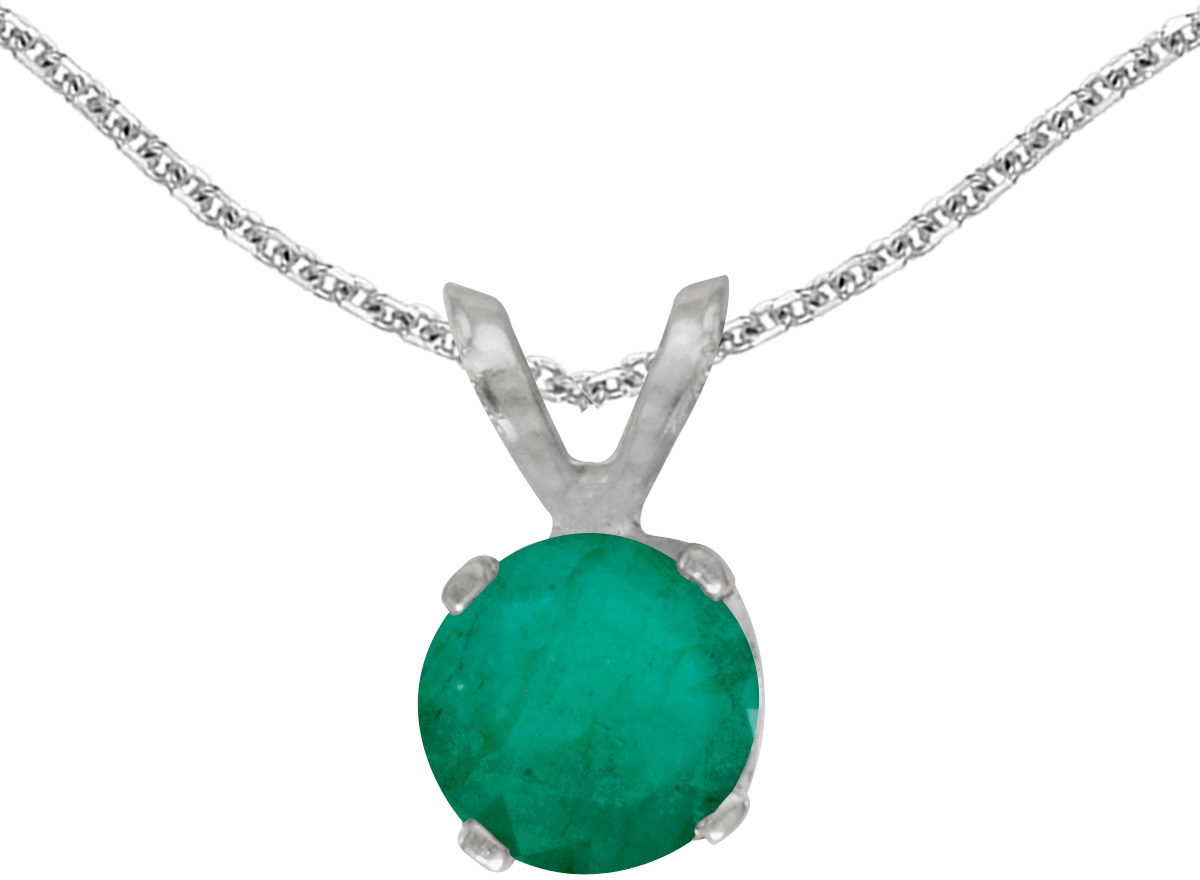 14k White Gold Round Emerald Pendant (Chain NOT included)