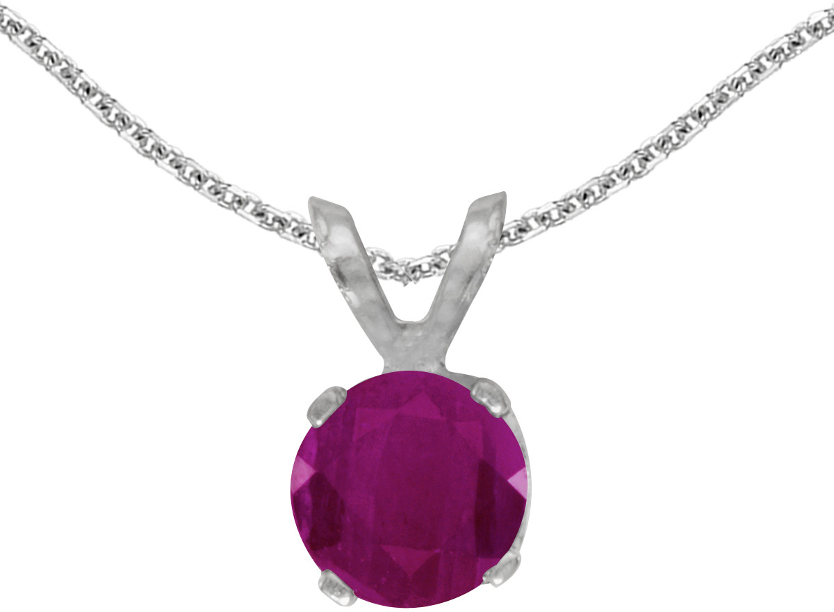 14k White Gold Round Ruby Pendant (Chain NOT included)