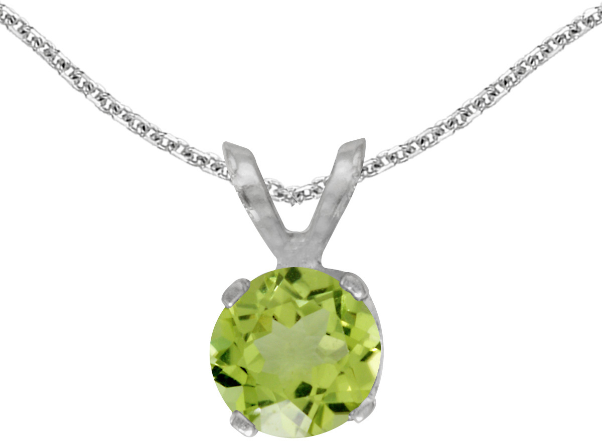 14k White Gold Round Peridot Pendant (Chain NOT included)