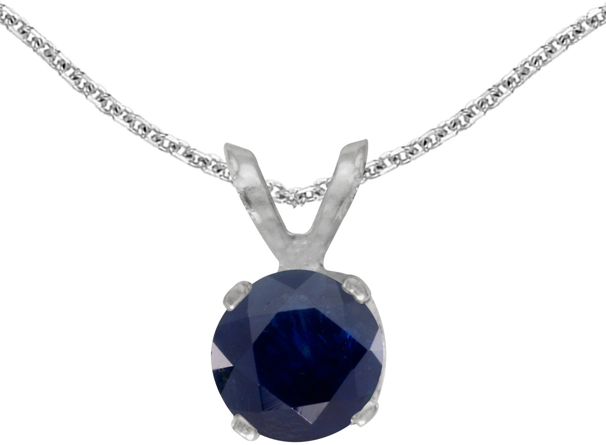 14k White Gold Round Sapphire Pendant (Chain NOT included)
